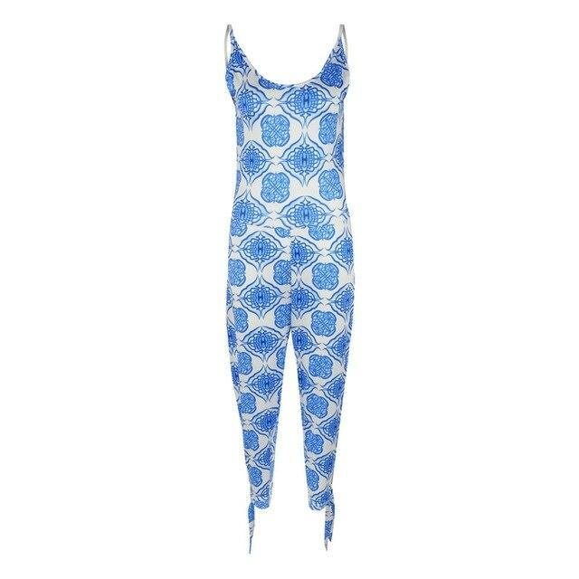 The Best Blue Gradient Floral Print Bandage Rompers Womens One Piece Jumpsuit Sexy Sleeveless Backless Playsuit Summer Clothes Overalls Online - Hplify