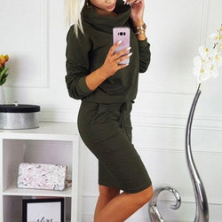 The Best Casual Green Red Loose TurtleNeck Long Sleeve Women Dress with Pockets Midi Dresses Party Dress Winter Dress Online - Hplify