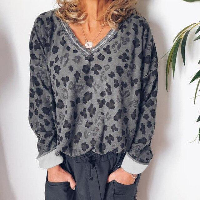 Casual Women Tops and Shirt Fall Clothing Fashion Women V Neck Leopard Printed Loose Long Sleeve Women Blouse