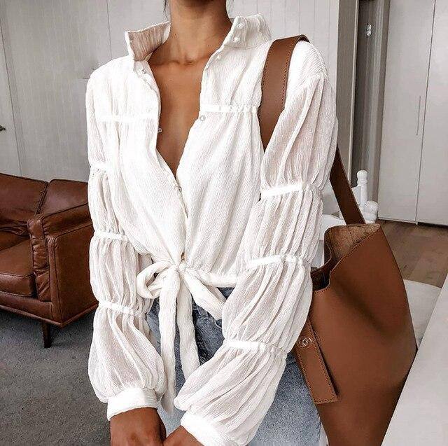 Fall Clothing Sexy See Through White Turn Down Collar Puff Sleeve Women Blouse Sexy Tops and Shirt Women Long Sleeve Shirt