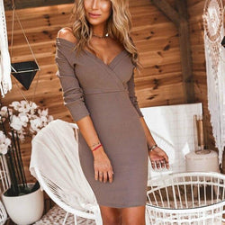 The Best Fall Clothing Sexy Warp Dress Women Party Night Low Cut  Solid Color Long Sleeve Knitting Women Bodycon Dress Online - Hplify