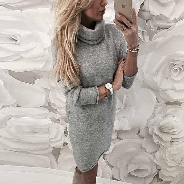 The Best Fashion Casual Gray Yellow Loose Turtle Neck Women Elegant Women Dress Midi Dresses Long Sleeves Party Dress Club Dress Online - Hplify