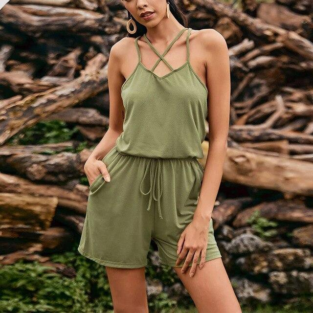 The Best Fashion Casual Halter Solid Color Off Shoulder Sleeveless Women Romper Sexy Women Summer Playsuit Women Summer Overalls Online - Hplify