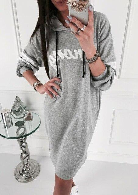 Fashion Casual Letter Printed Long Sleeve Women Hoodies Mini Dress Long Sleeve Women Dress Fall Clothing