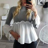 Fashion Casual Long Sleeve Women Tops and Shirt Fall Clothing Sweetwear Turtlneck Ruffled Patchwork Flare Sleeve Women Blouse