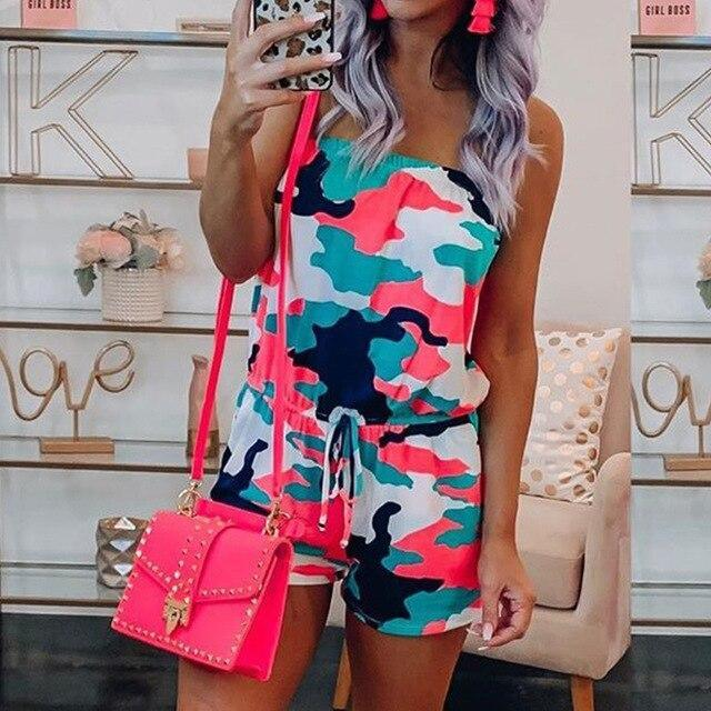 The Best Fashion Casual Off Shoulder Sleeveless Tie Dye Elastic Waist Women Playsuit Sexy Women Ropmer Women Overalls Online - Hplify