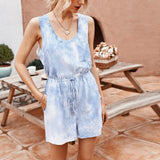 Fashion Casual Off Shoulder Sleeveless Tie Dye Elastic Waist Women Playsuit Sexy Women Ropmer Women Overalls Summer Clothing