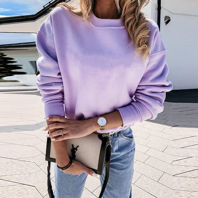 Fashion Casual Round Neck Solid Color Long Sleeve Women Pullovers Fall Clothing Women Long Sleeve Sweatshirt Women Hoodies