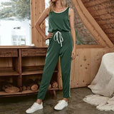 Fashion Casual Solid Color Green Elastic Waist Sleeveless Women Jumpsuit Casual Off Shoulder Women Romper