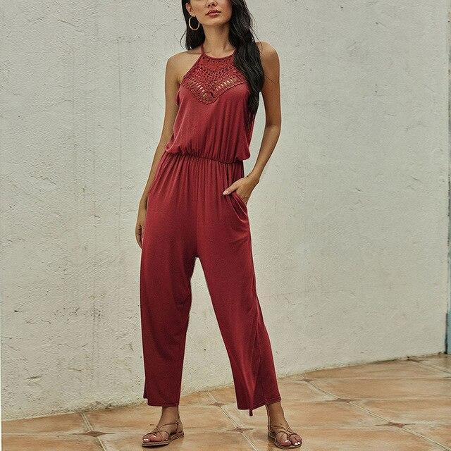 Fashion Casual Solid Color Halter Hollow Out Sleeveless Women Jumpsuit Summer Sleeveless Women Overalls Sexy Jumpsuit