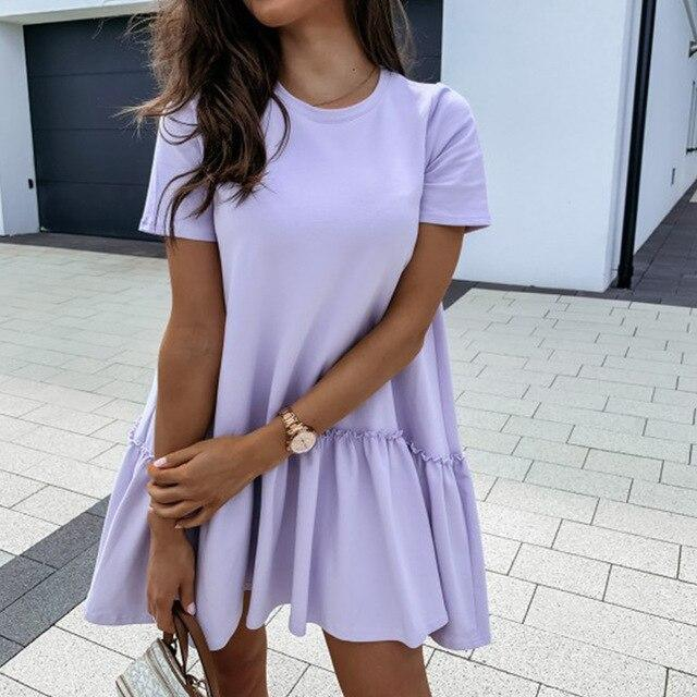 Fashion Casual Solid Color Round Neck Fuffled Short Sleeve Women Dress Casual Short Sleeve Women Dress Summer Dress Women