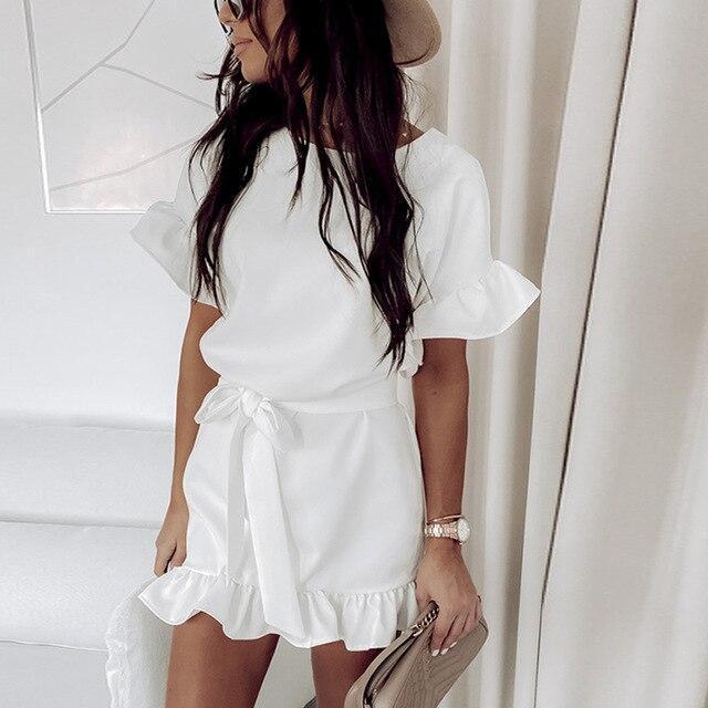 Fashion Casual Solid Color Round Neck Fuffled Short Sleeve lace up Women Dress Casual Short Sleeve Women Dress Summer Dress