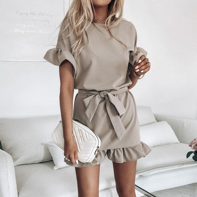 The Best Fashion Casual Solid Color Round Neck Fuffled Short Sleeve lace up Women Dress Casual Short Sleeve Women Dress Summer Dress Online - Hplify