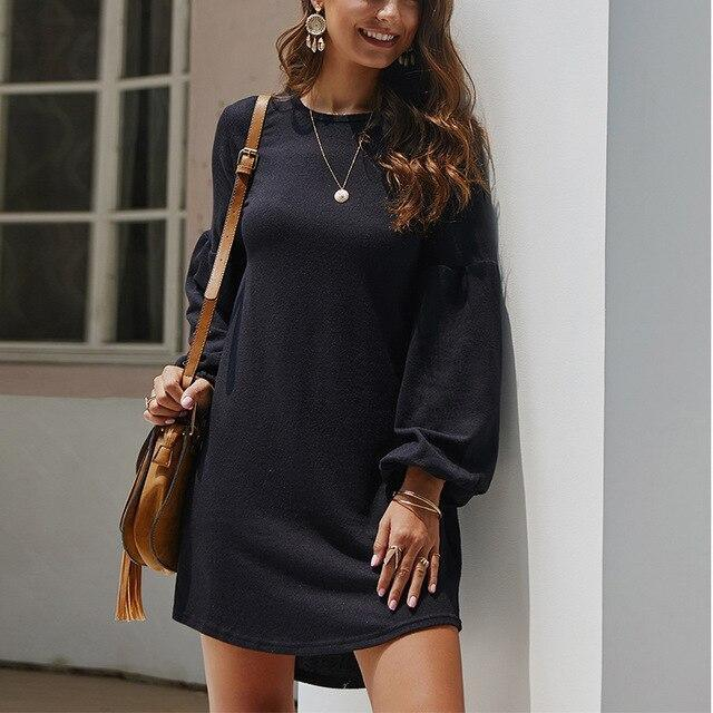 Fashion Casual Solid Color Round Neck Loose Lantern Sleeve Women Dress Casual Long Sleeve Women Dress Fall Clothing Women