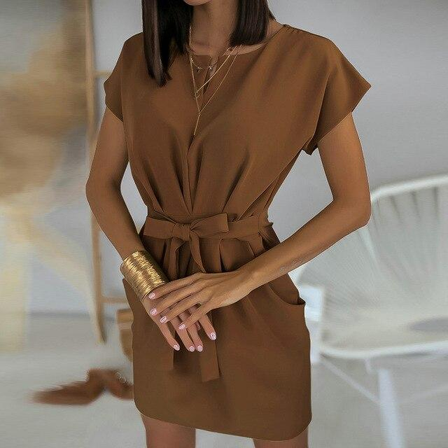 Fashion Casual Solid Color Round Neck Short Sleeve Lace Up Women Dress Short Sleeve Summer Dress Women Office Wear