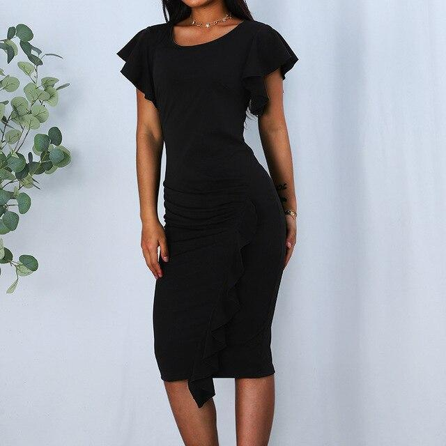 Fashion Casual Solid Color Ruffled Butterfly Sleeve Women Bodycon Dress Sexy Women Office Wear Black Dress Women