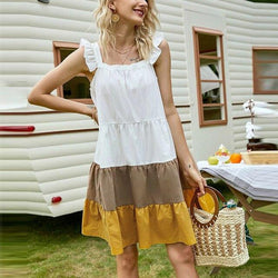 The Best Fashion Casual Square Collar Ruffled Sleeveless Patchwork Loose Women Mini Dress Summer Dress Women Online - Hplify