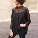 Fashion Sexy Lace Hollow Out See Through Turtleneck Long Sleeve Ruffled Women Blouse Sexy Tops and Shirt Women Tops