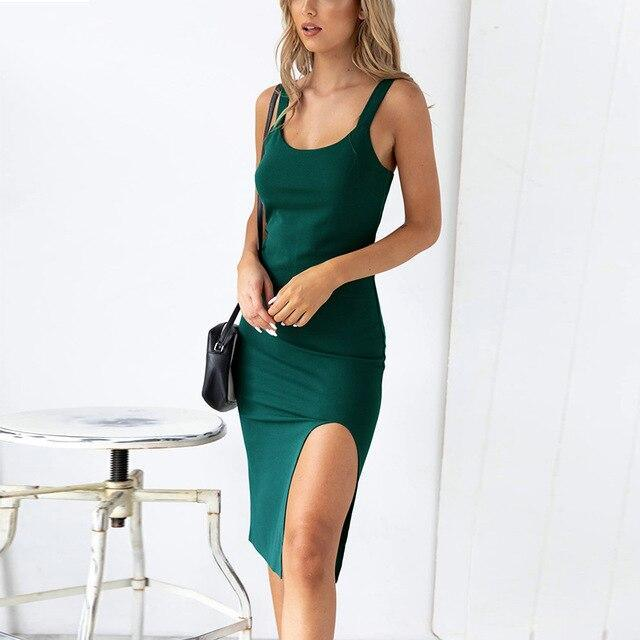 Fashion Sexy Off Shoulder Solid Color Sleeveless Split Bodycon Dress Summer Slim Women Party Dress Sexy Dress Women