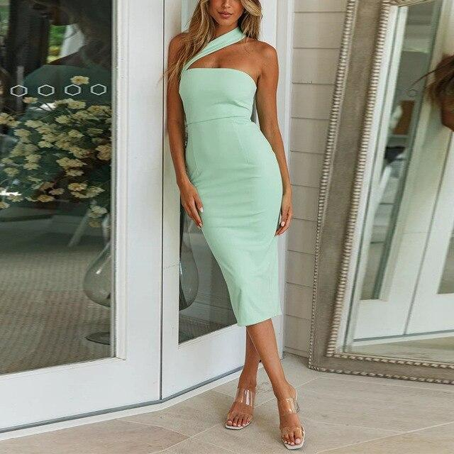 The Best Fashion Sexy One Shoulder Solid Color Sleeveless Women Bodycon Dress Sexy Women Halter Dress Maxi Dress Women Online - Hplify