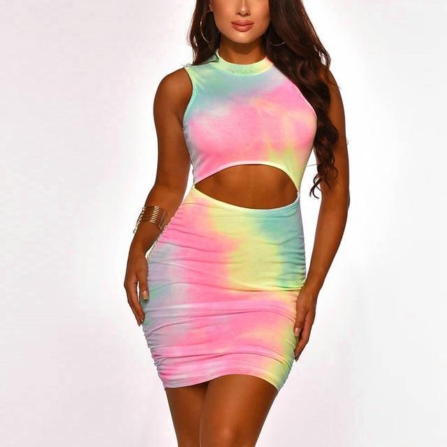 The Best Fashion Sexy Sleeveless Hollow Out  Backless Tie Dye Women Bodycon Dress Sexy Dress Women Summer Dress Online - Hplify