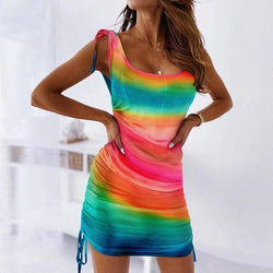 The Best Fashion Sexy Sleeveless Tie Dye Wrinkled Bandage Bodycon Dress Sexy Women Summer Dress Tie Dye Dress Women Online - Hplify