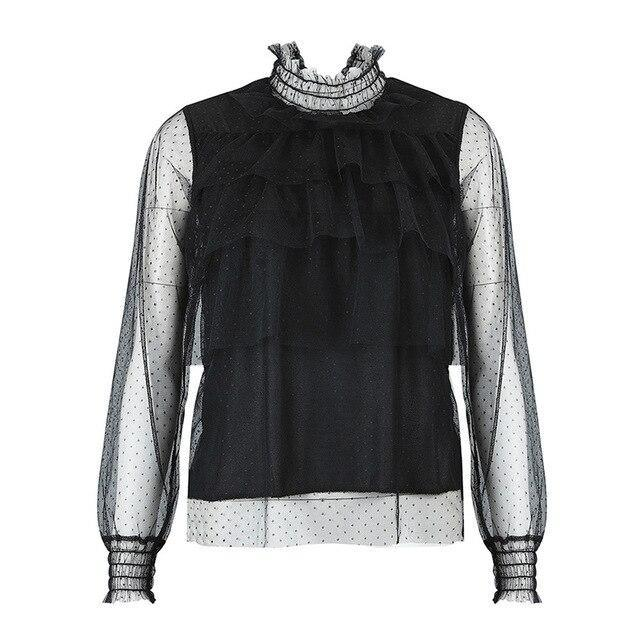 Fashion  Sexy Tops and Shirt Women Clothing Turtlenneck Polka Dot See Through Ruffled Lantern Sleeve Women Blouse