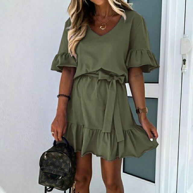 Fashion Summer Casual Solid Color  V Neck Ruffled Short Sleeve Women Summer Dress Sexy Women Dress Plus Size Women Dress