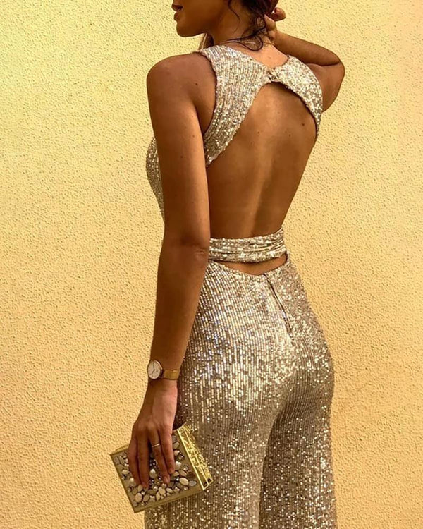 The Best Glitter Round Neck Sleeveless Backless Sequins Jumpsuit for Women Wide Leg Pants Long Jumpsuit Club Outfits Overalls Online - Hplify