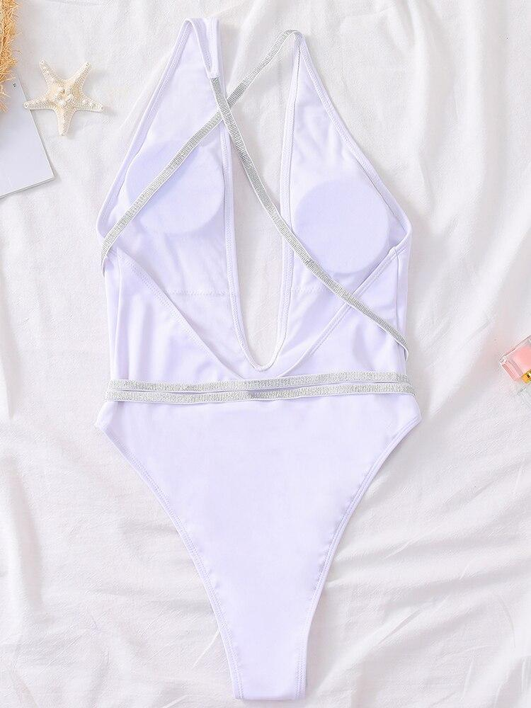 Silver Shiny Webbing One Shoulder One Piece Swimsuit 2021 New Arrival Padded Bra Bandage Swimwear Women Bathing Suit
