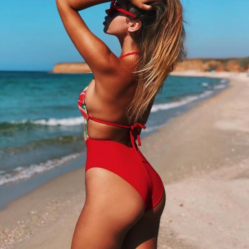 Sexy Women Applique Red Swimwear Women 2021 New Arrival Mesh Patchwork Perspective One Piece Swimsuit Female Monokini