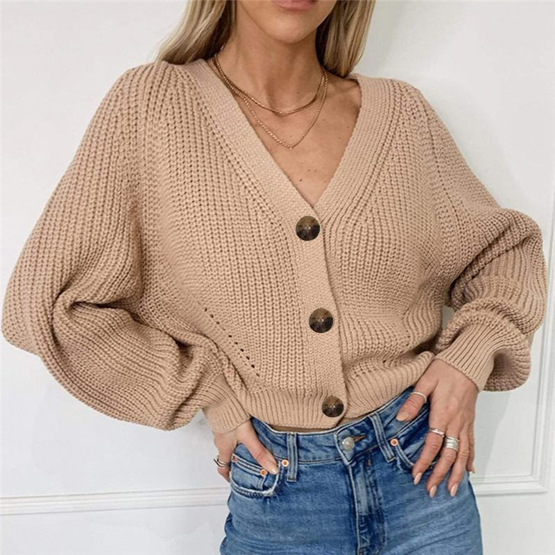 Women Solid Casual Sweater Oversize V Neck Knitted Cardigans 2020 Autumn Warm Loose Lantern Sleeve Single Row Button Female Coat