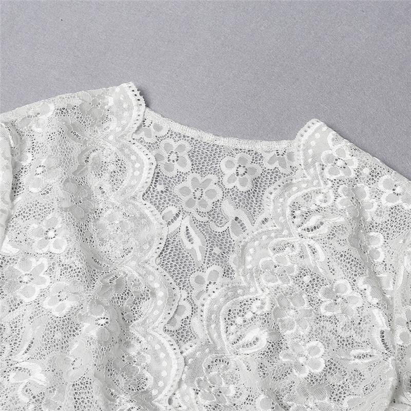 2Pcs Women Underwear Set Solid Lace Floral Embroidery V-Neck Short Sleeves Crop Top High Waist Briefs Sexy Perspective