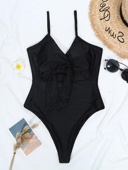 Solid Sexy One Piece Swimsuit 2021 New Arrival Straps Padded Bra Hollow Out Tie Swimwear Women Bathing Suit Monokini