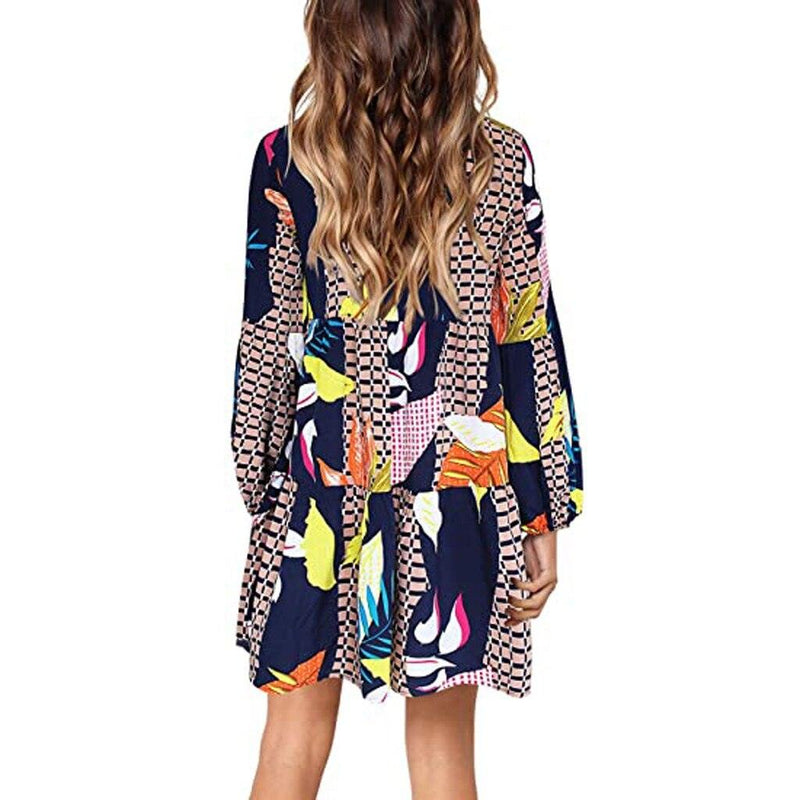 Fashion Womens Long Sleeve Dress Maple Leaf Printed Swing Loose Comfy Casual Dress A-line Fashion Dress#D3
