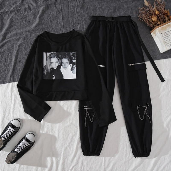 Spring Autumn Female High Waist Streetwear Cargo Pants Women Casual Ladies Joggers 2 Piece Set Trousers Hippie Baggy Pants