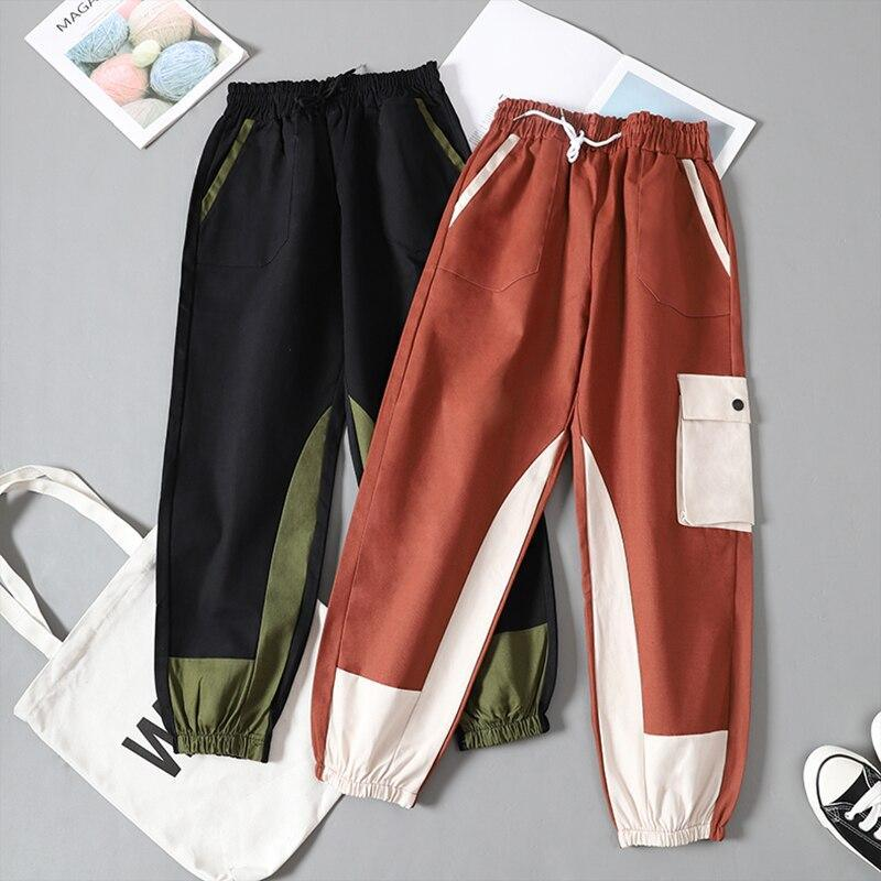 Spring Overalls Female Cargo Pants Loose BF Students High Waist Handsome Sweatpants Summer womens joggers sweatpants