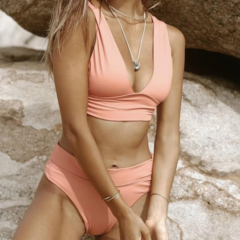 Sexy Pink Bikinis Push Up Bikini 2021 New Arrival Padded High Waist Swimsuit Female Brazilian Biquini Swimwear Women