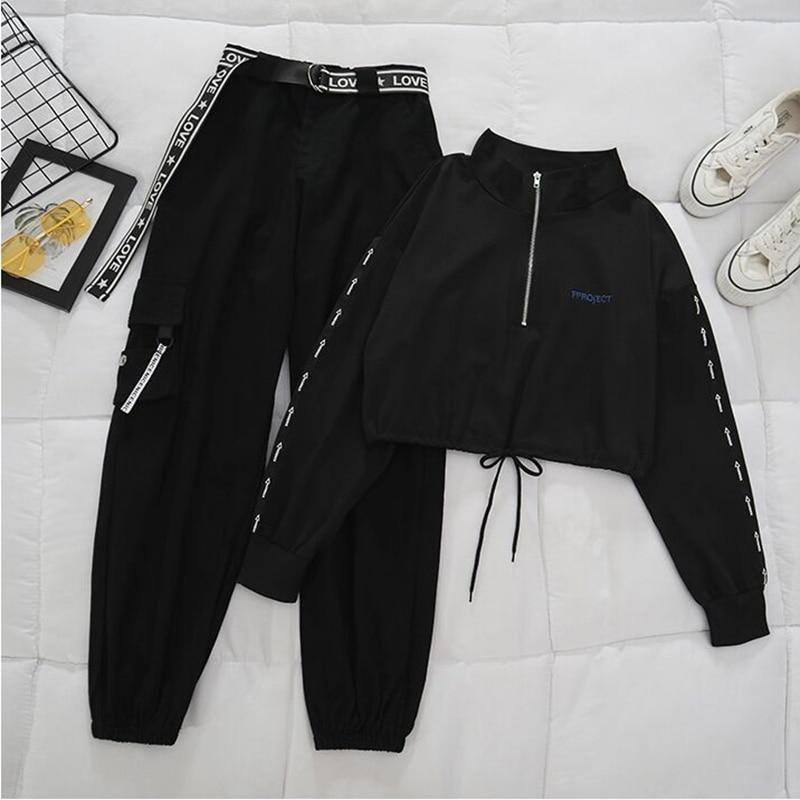 Belt Zipper Female Cargo Pants Hip-Hop Casual Two-piece Streetwear Black 2 Piece Set Harajuku Loose BF Harem Pants