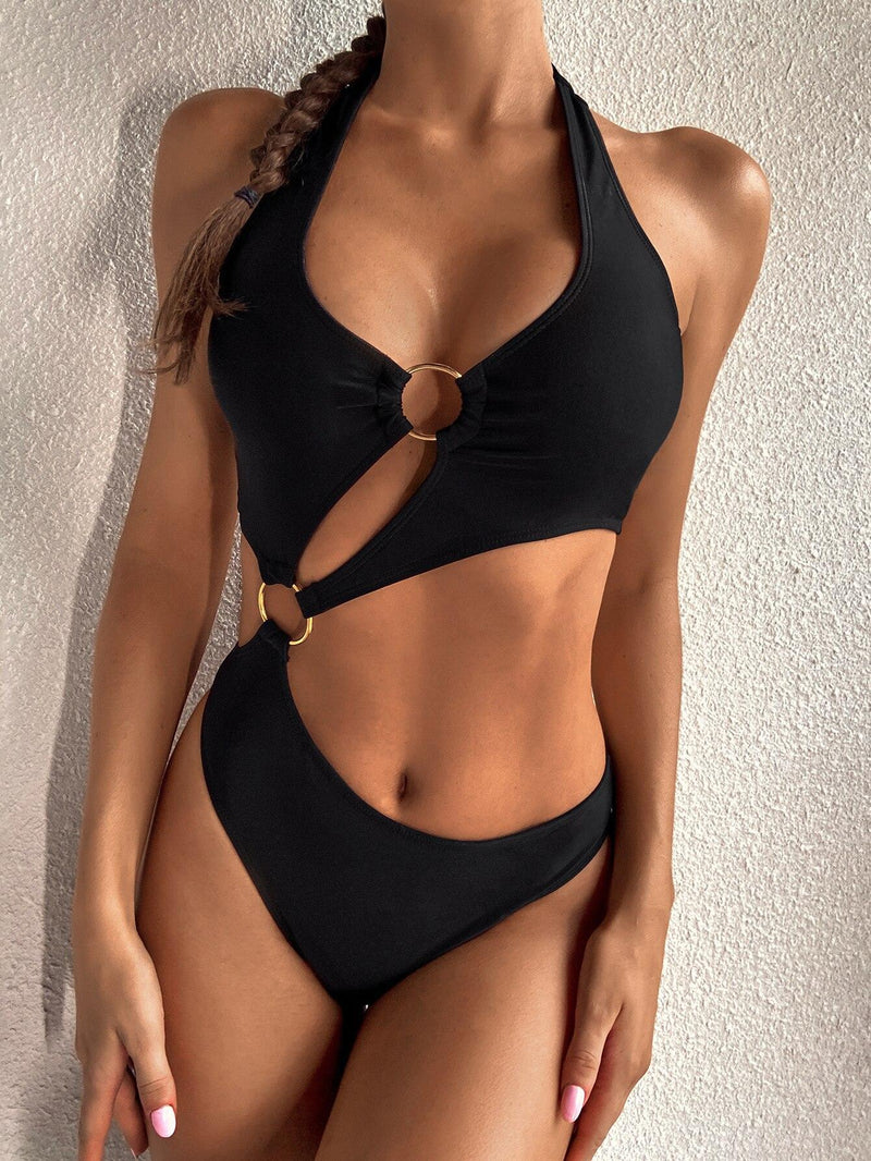 Black One Piece Swimsuits Women Push Up Swimwear Cut Out Monokini Sexy High Cut Bodysuits Bandage Halter Bathers 2021 New