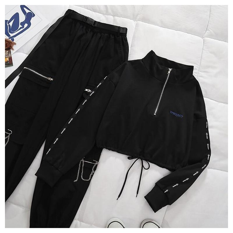 Women's High Waist Trousers Loose Casual Two-piece Suit Buckle Ribbon Pocket Jogger Elastic Waist High Streetwear Pants