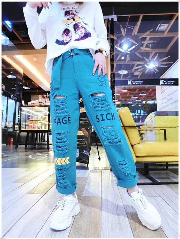 Letter Spliced Women Jeans Holes Pants Loose Candy Color Denim women's pants Autumn Harajuku BF Female Joggers