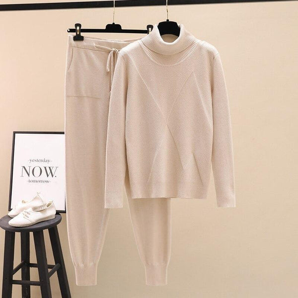 2 Pieces Set Women Knitted Tracksuit Turtleneck Sweater + Carrot Jogging Pants Pullover Sweater Set CHIC Knitted Outwear