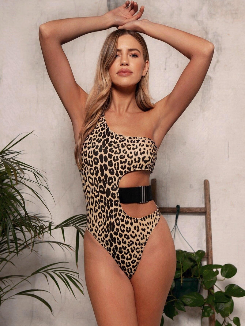 Leopard Swimwear Women Swimsuits Cut Out Monokini 2021 One Piece Bathing Suit Women Sexy One Shoulder Bodysuit Beach Wear