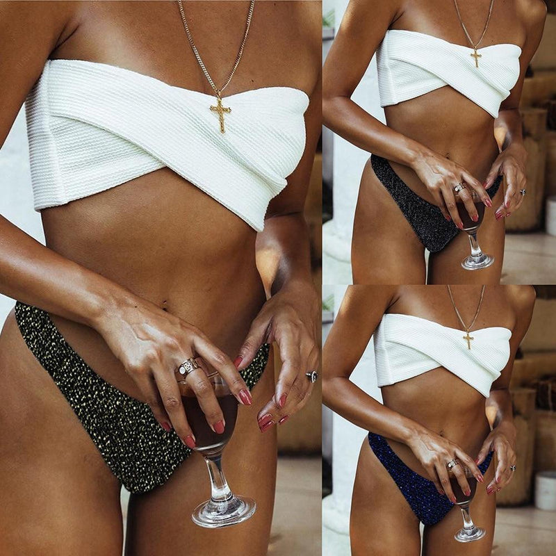 Bikini 2021 New Arrival Irregularity Light Patchwork Sexy Swimwear Women Strapless Low Waist Swimsuit Female Biquini