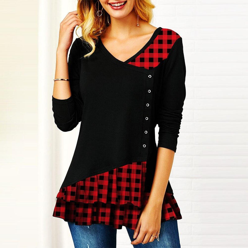 Plaid Colorblock Button Asymmetric Layered Dress