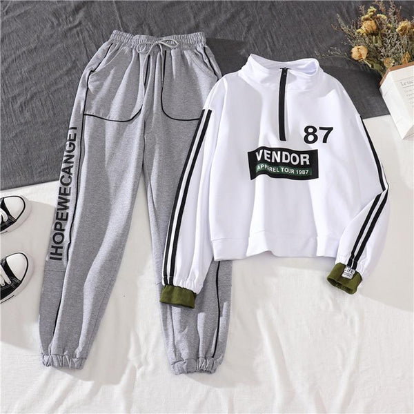 2021 New Spring Autumn Fashion Casual Sportswear Cargo Pants Women Loose two-piece Women Joggers+ Sweatshirt Pullover