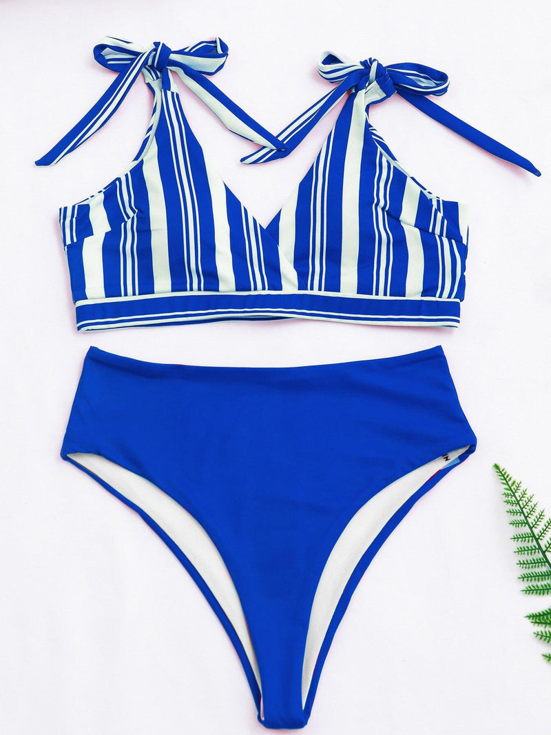 High Waist Bikinis Swimsuits 2021 Swimwear Women Top Wrap Biquini Beachwear Strap Bow Bathing Suits Striped Bikini Set