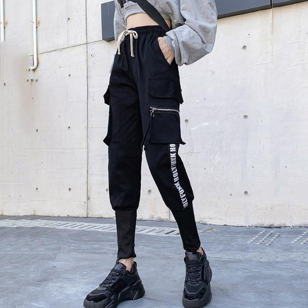 Spring  Cargo Pants Female Harajuku Loose BF Trousers Women Autumn High Waist Sports Casual Pants Women