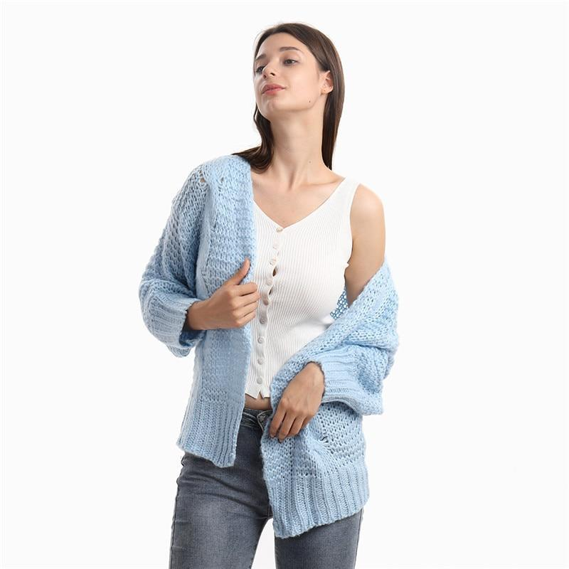 The Best Loose Knitted Casual Cardigan Tops Women Long Sleeve Sweaters Online - Hplify